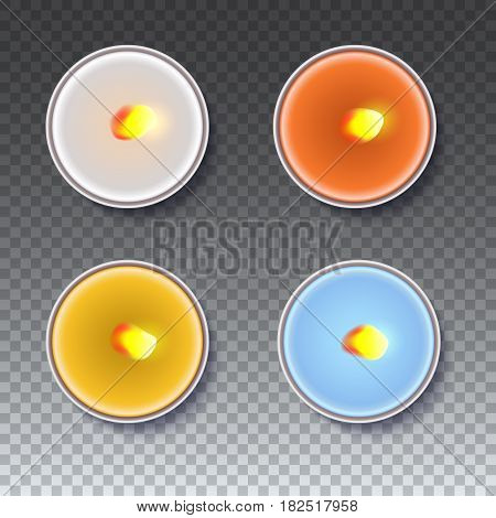 Realistic wax, flamed, round candles in a metal case isolated on transparent backdrop. Top view on colored burning candles. Template for invitation or greeting cards. Vector illustration.