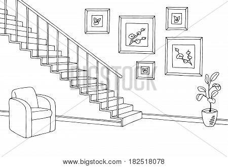 Hallway graphic stairs black white interior sketch illustration vector