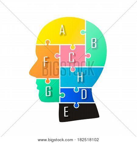 Head info puzzle sign, template design element , Vector illustration