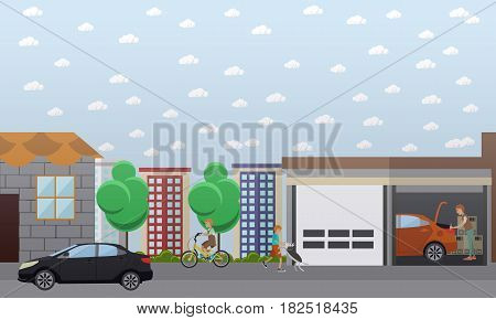 Vector illustration of man repairing car or carrying out car check in garage, kids riding bicycle and walking dog. Home garage flat style design element.