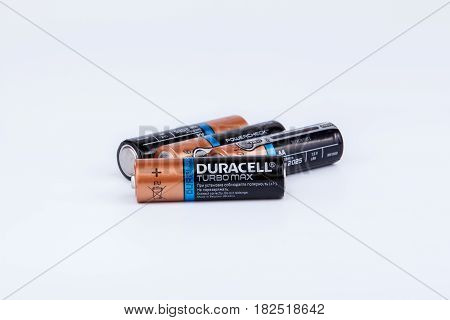 Riga, Latvia - April 18, 2017: Duracell Batteries, Duracell is an American brand of batteries and smart power solutions