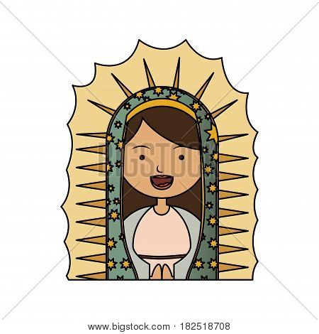white background of colorful half canvas of virgin of guadalupe vector illustration