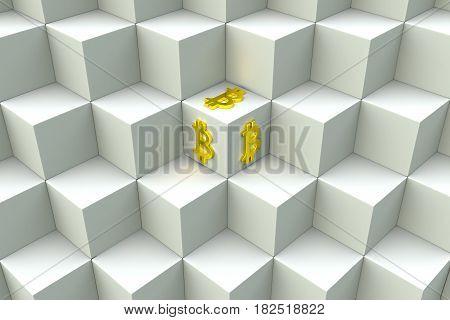 block chain in a bitcoin 3D illustration