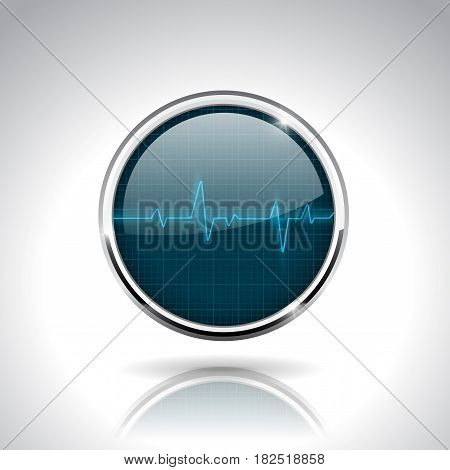 Electrocardiogram sign. Dark blue round 3d icon with chrome frame. Vector illustration on gray background