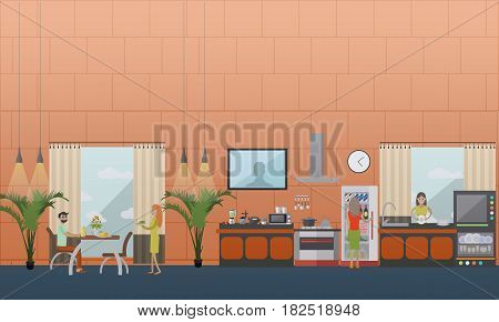 Vector set of kitchen flat style design elements Family couple having lunch or dinner, housewife washing dishes. Dining Room and kitchen interior.