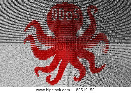 DDoS octopus in the form of binary code, 3D illustration