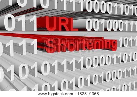 URL shortening in the form of binary code, 3D illustration