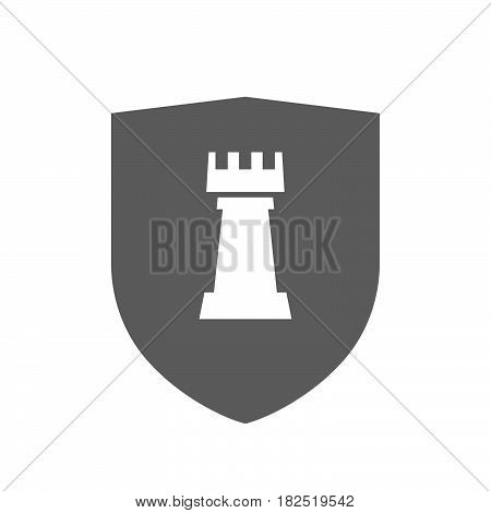 Isolated Shield With A  Rook   Chess Figure