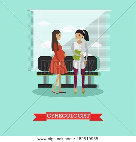 Vector illustration of doctor gynecologist female consulting her pregnant patient. Gynecology consultation flat style design element.