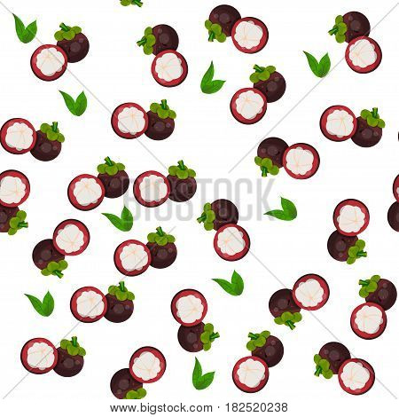 Very high quality original trendy vector seamless pattern with mangosteen, exotic tropical fruit