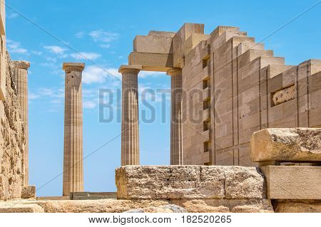 Temple of Athena Lindia in the Acropolis. Lindos Rhodes Dodecanese Islands Greece