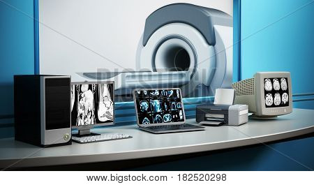 Magnetic Resonance Imaging MRI device and computer systems.