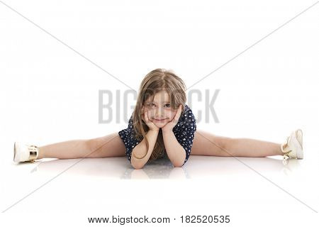 Beautiful blonde little girl, isolated on white background