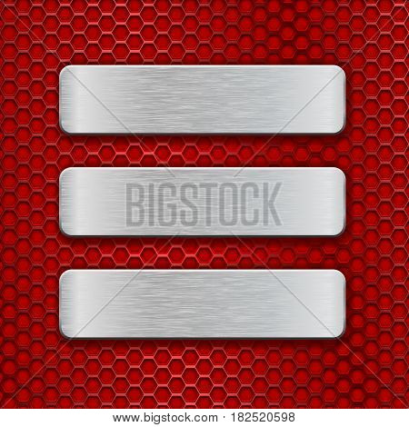 Metal rectangular brushed plates on red perforated background. Vector 3d illustration