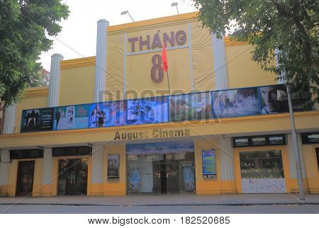HANOI VIETNAM - NOVEMBER 22, 2016: August Cinema Thang 8. August Cinema Thang 8 is a popular movie cinema among locals.