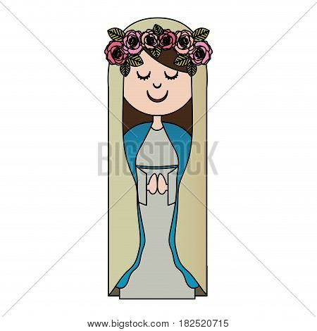 white background of colorful virgin with crown of roses vector illustration