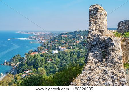 View from Platamonas castle to Aegean Sea coast. Pieria Macedonia Greece