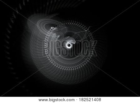 Rotating abstract fractal on black background. Virtual Reality. Design element