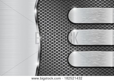 Metal perforated background with brushed steel elements. Vector 3d illustration