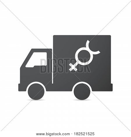 Isolated Truck With  The Mercury Planet Symbol