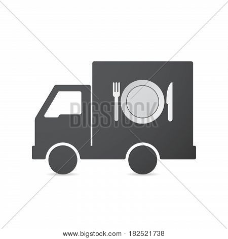 Isolated Truck With  A Dish, Knife And A Fork Icon