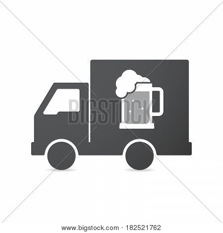 Isolated Truck With  A Beer Jar Icon