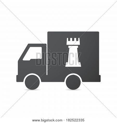 Isolated Truck With A  Rook   Chess Figure