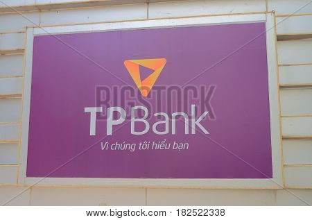 HANOI VIETNAM - NOVEMBER 22, 2016: TP Bank. TP Tien Phong Bank is a Vietnamese bank founded in 2008 in cooperation with BIDV and Citibank.