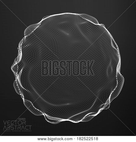Abstract vector monochrome mesh sphere on dark background. Futuristic style card. Elegant background for business presentations. Corrupted point sphere. Chaos aesthetics.