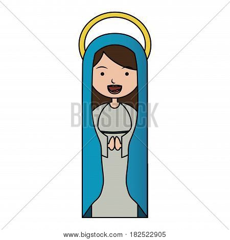 white background of colorful beautiful virgin with blue mantle and aura vector illustration