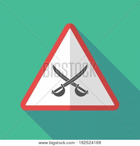 Long Shadow Warning Sign With  Two Swords Crossed