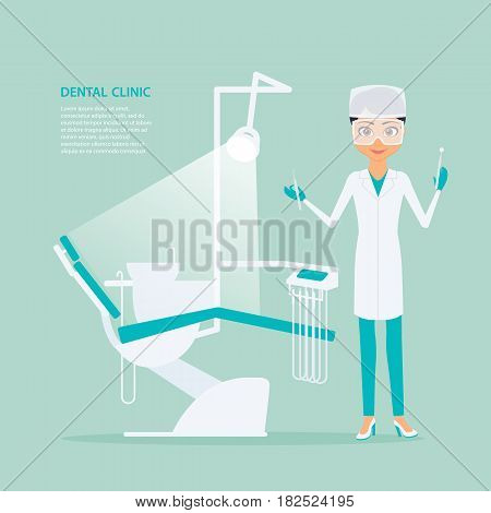 Vector flat illustration of woman dentist in medical uniform, wearing glasses and with tools in hand next to dental chair. Specialist and medical equipment for the rehabilitation of the oral cavity