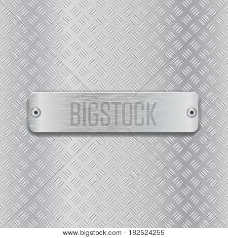Non slip metallic surface with brushed plate. Vector 3d illustration