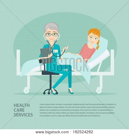 Vector flat illustration young girl patient and elderly woman doctor in hospital ward. Medicine and health, healthcare and specialist, medical care