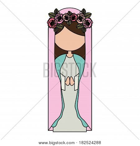 white background of colorful faceless virgin with crown of roses and pink mantle vector illustration