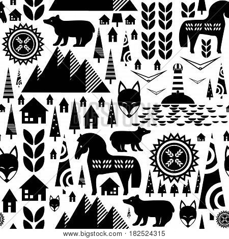 Scandinavian seamless pattern with mountains swedish houses fir-trees horse bear leaves. Abstract black and white background. Stock vector.