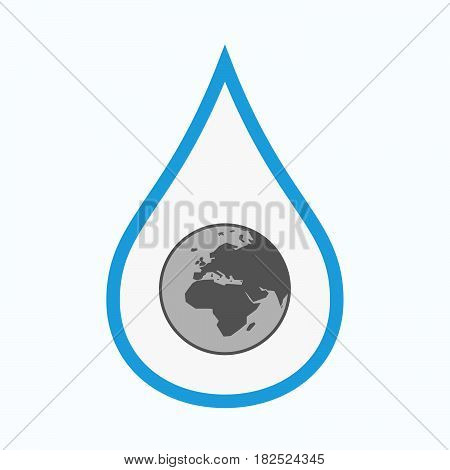 Isolated Water Drop With   An Asia, Africa And Europe Regions World Globe