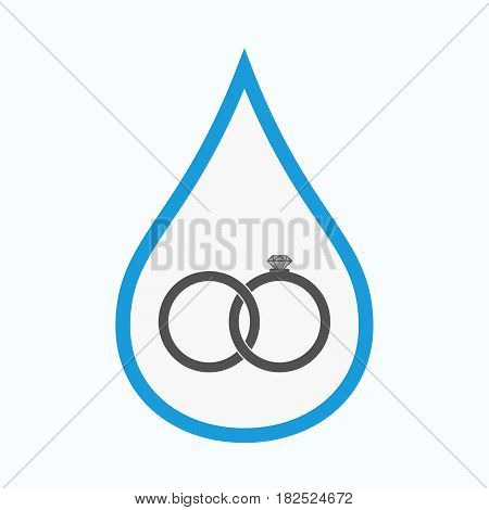 Isolated Water Drop With  Two Bonded Wedding Rings