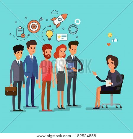 Concept of exam. Creative people stand in line to the teacher. Flat design, vector illustration