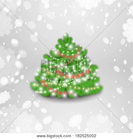 Christmas tree with glowing garland on the white background. Stock vector.