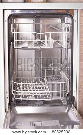 Empty Dishwasher In Kitchen