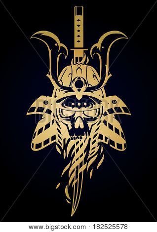 Graphic skull in traditional samurai helmet pierced with a sword. Vector art on white background.