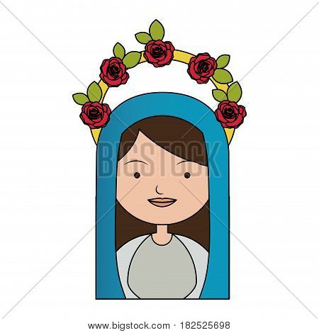 white background of colorful half body beautiful virgin with crown of roses and blue mantle vector illustration