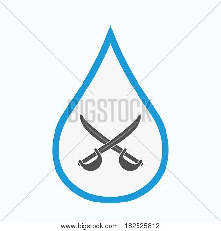 Isolated Water Drop With  Two Swords Crossed