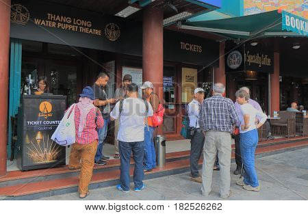 HANOI VIETNAM - NOVEMBER 22, 2016: Unidentified people visit Thang Long Water Puppet Theatre.