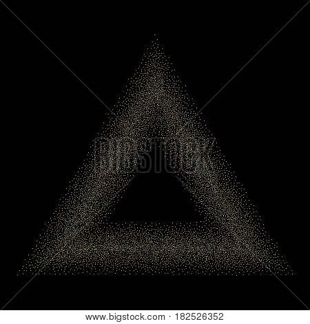 Abstract trendy black background with golden shapes. Stock vector.