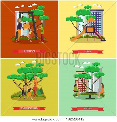 Vector set of kindergarten kids posters. Upbringer, Slide, Kindergarten and Swing flat style design elements.