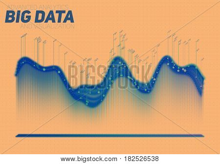 Vector abstract colorful big data visualization. Futuristic infographics aesthetic design. Visual information complexity. Intricate data threads graphic. Social network or business analytics.