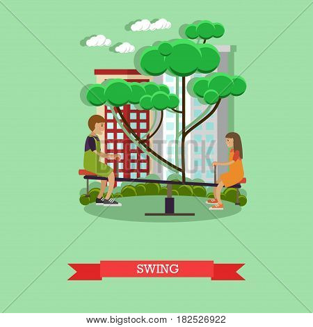 Vector illustration of children boy and girl swinging on seesaw in playground. Swing concept design element in flat style.