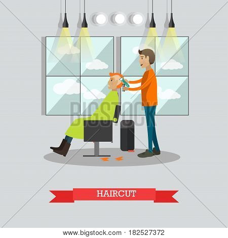Vector illustration of professional barber shaving head of his client with electric razor. Barber shop services, haircut concept flat style design element.
